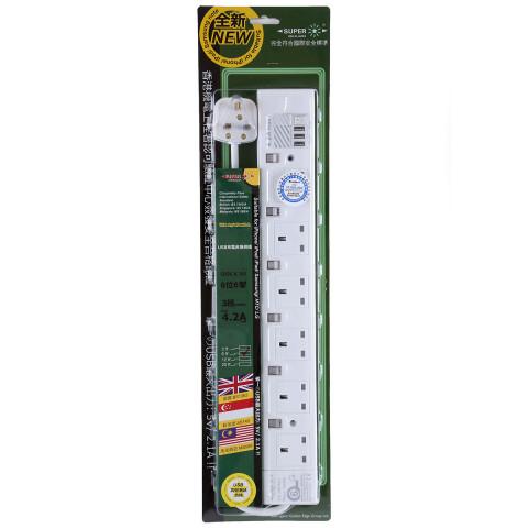 6位合格排插 + 3個USB充電器 (最大輸出: 4.2A max.)